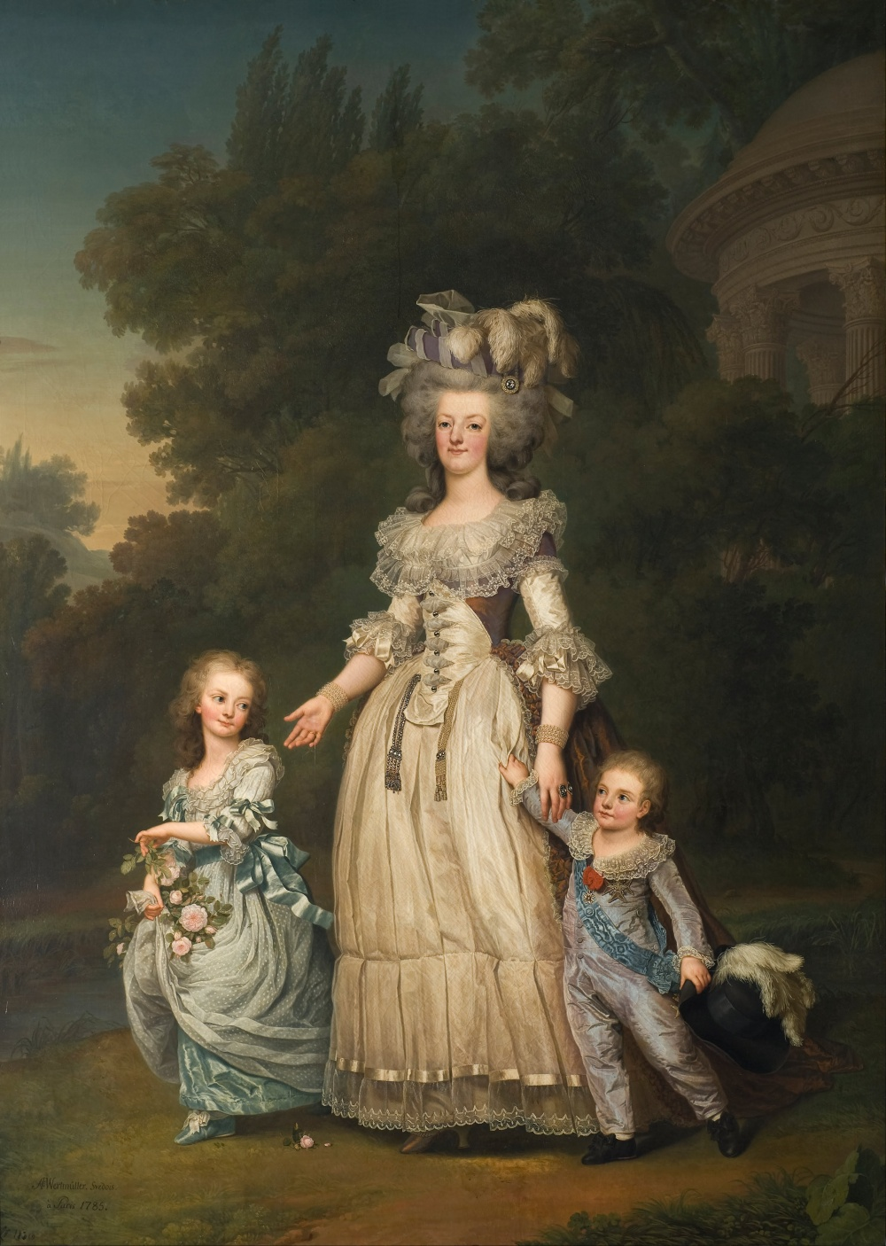Adolf_Ulrik_Wertmüller_-_Queen_Marie_Antoinette_of_France_and_two_of_her_Children_Walking_in_The_Park_of_Trianon_-_Google_Art_Project
